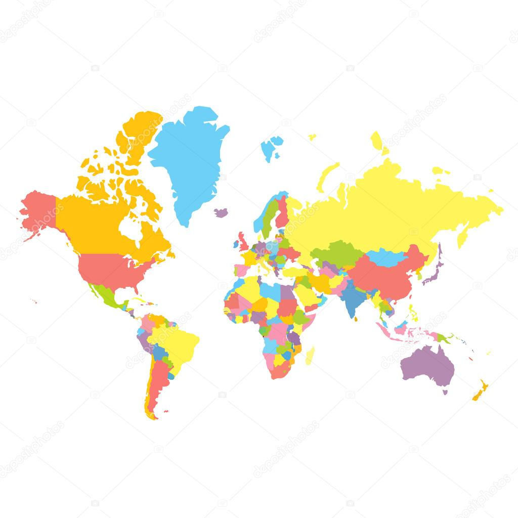 Vector political world map stock vector truekit 106706652 colorfull vector political world map on white background each country colored in different color flat style mercator projection vector by truekit gumiabroncs Image collections