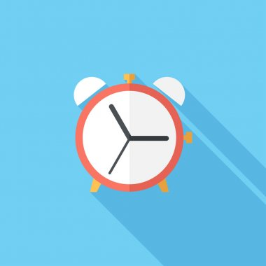 Alarm clock icon. Flat design style modern vector illustration. Isolated on stylish color background. Flat long shadow icon. Elements in flat design. stock vector