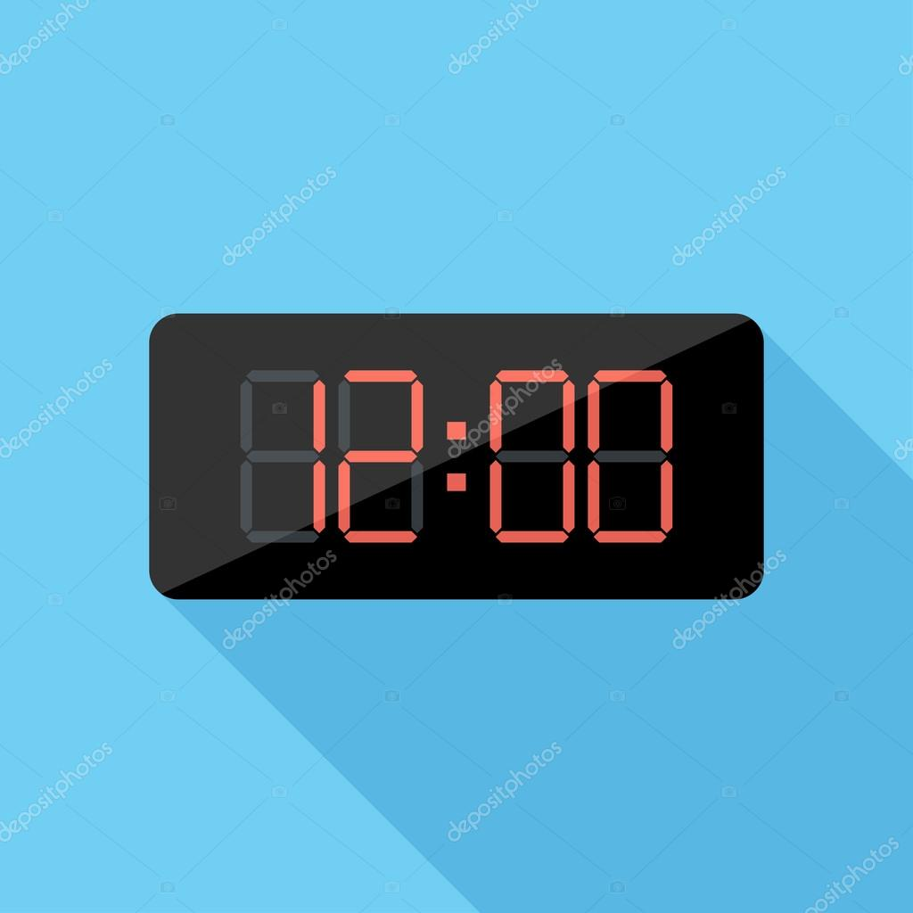 digital clock icon flat design style modern vector isolated on stylish color background flat. Black Bedroom Furniture Sets. Home Design Ideas