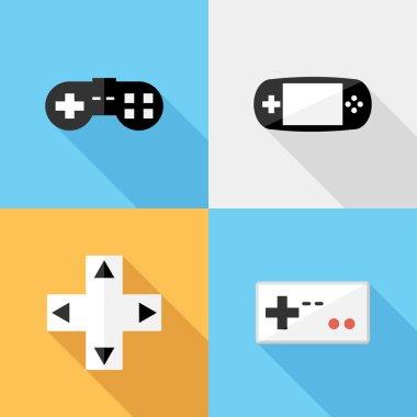 Flat design game icons.