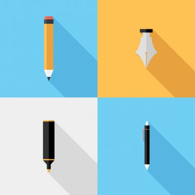 Flat design Pencil and pen icons.