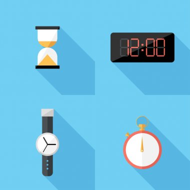 Flat design  clocks icons.