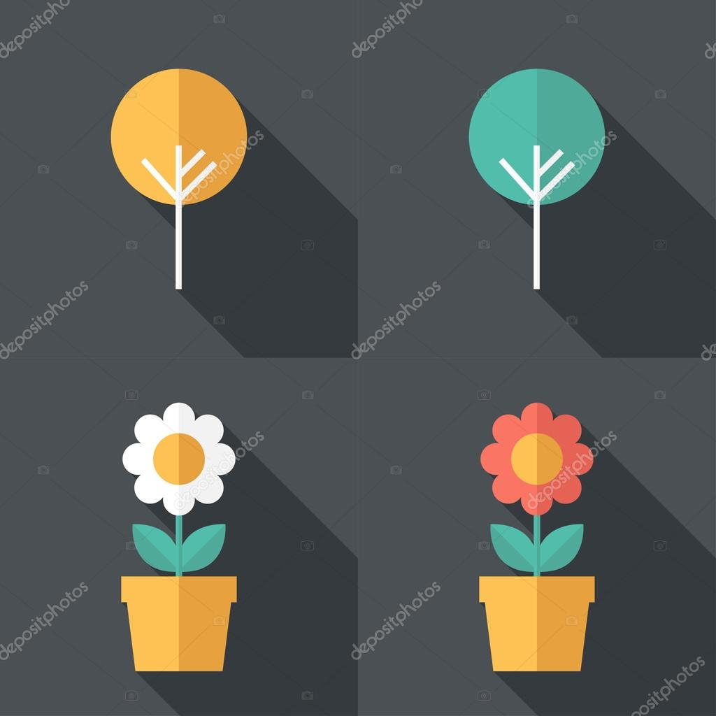 trees and flowers icons.