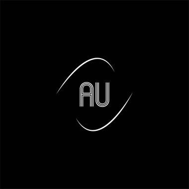 A U letter logo creative design on black color background, au monogram icon
