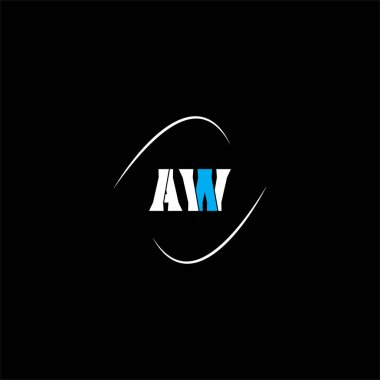 A W letter logo creative design on black color background, aw monogram icon