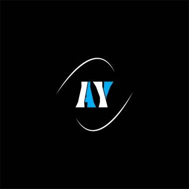 A Y letter logo creative design on black color background, ay monogram icon