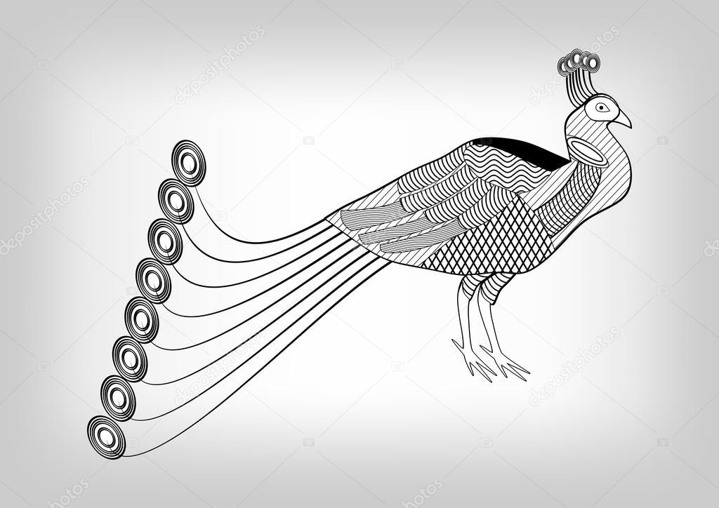 Pavone, bianco e nero disegno ornamentale stilizzato, uccello ...