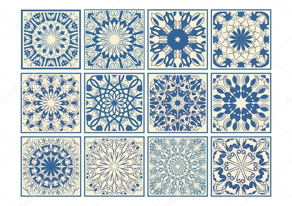 Set of vintage ceramic tiles in azulejo design with blue patterns on ...