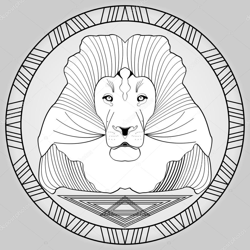 t te de lion dans le dessin du cadre noir et blanc cercle image vectorielle shalom3 107656444. Black Bedroom Furniture Sets. Home Design Ideas