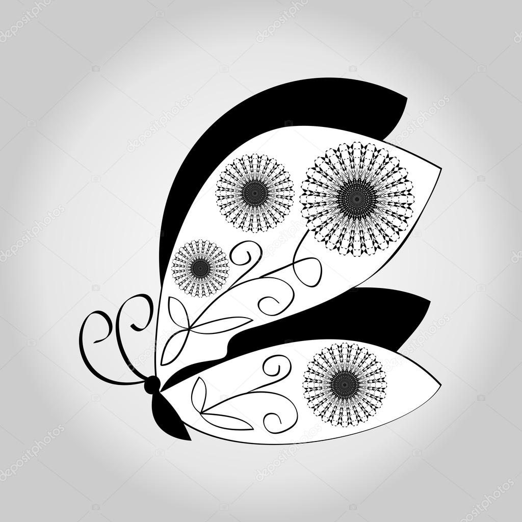 Sfondo Sfumato Bianco E Nero Farfalla Disegno Su Sfondo Grigio