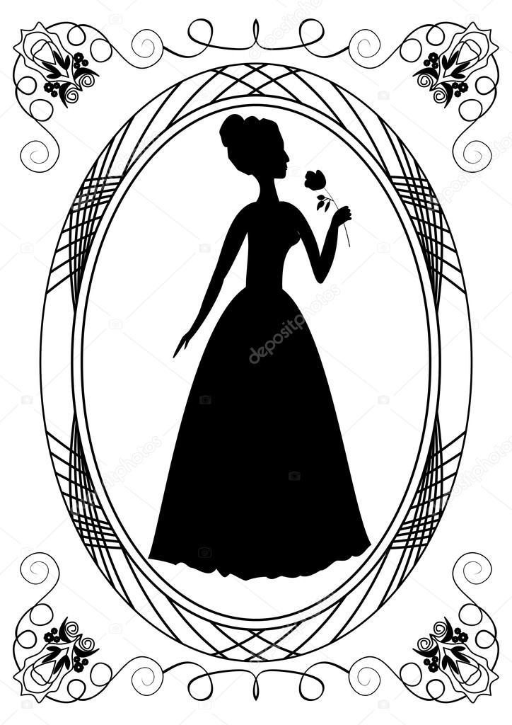 Extrêmement avec la silhouette de la Dame. Cadre vintage avec Dame victorienne  BN27