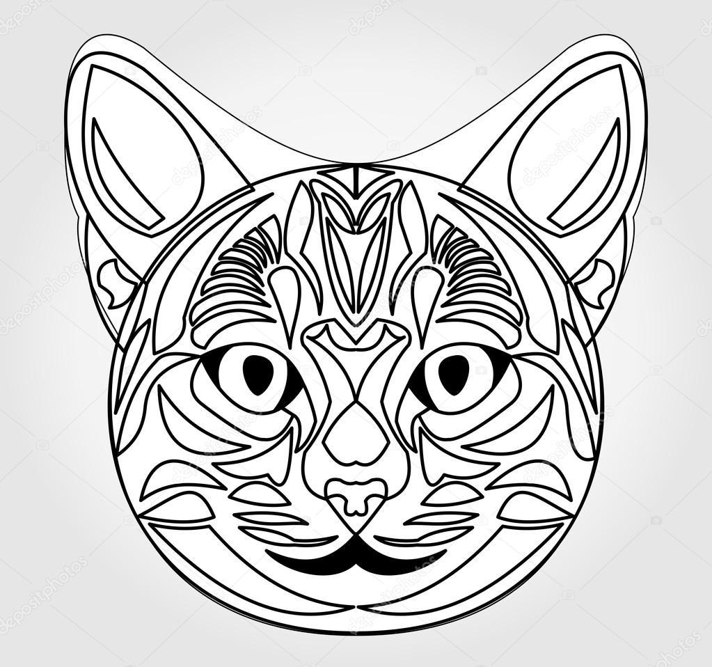 Cat Head Drawing Symbol Of Sun God Egyptian Mythology Symbol
