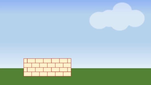 Budova domu. Animované konstrukci domu na venkově se stromem. Reklamní film pro budování nebo vývojář společnosti.
