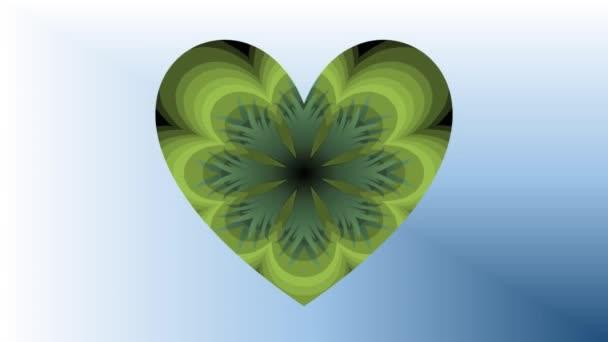 Ökologie-grünes Herz-Film. Animation mit Grün gemustert bewegende ...