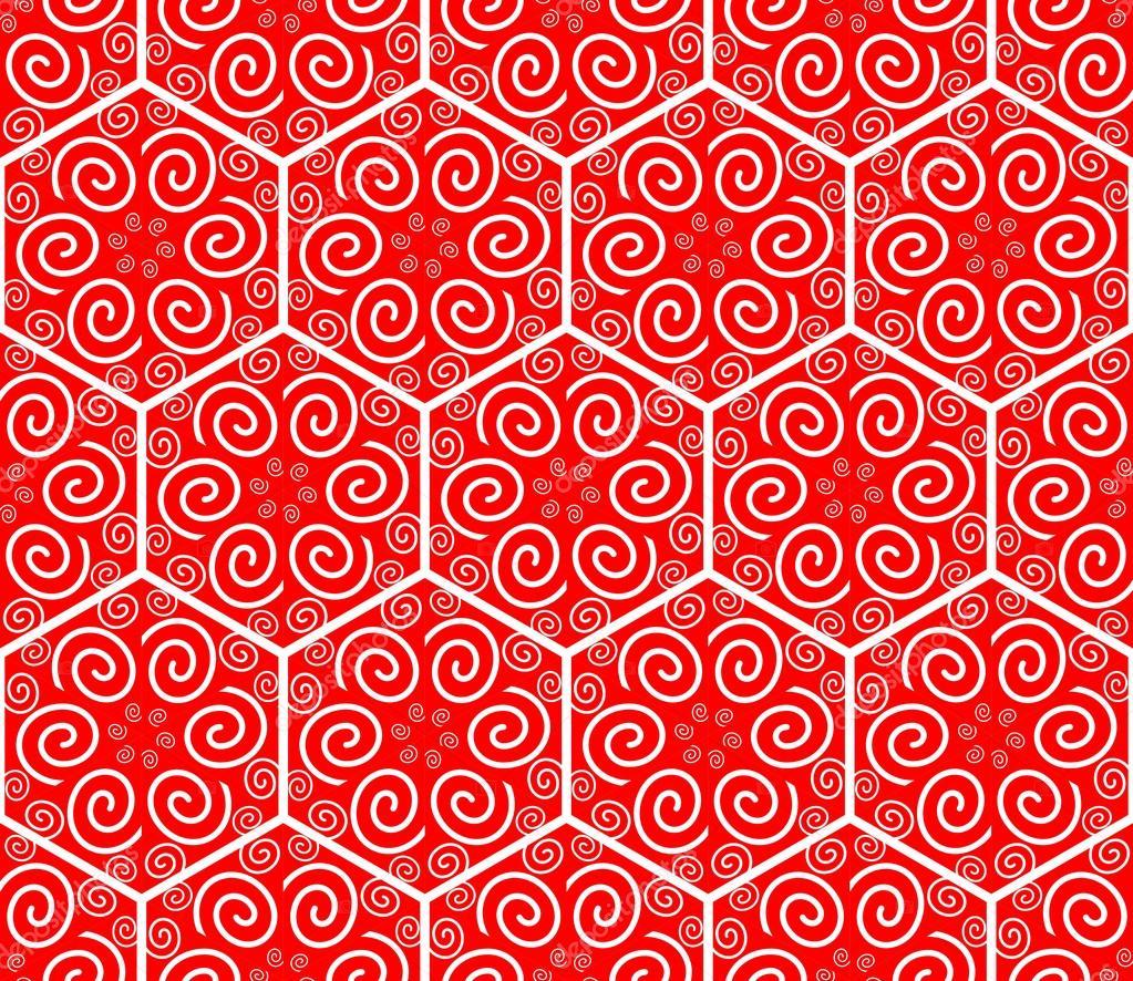 hexagonal patterns with spiral ornament seamless geometric ornament