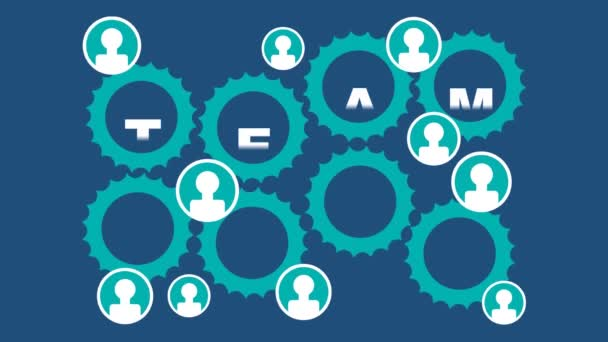 Team work animated illustration. Rotating gears, people icons, finger gesture thumbs up, green and white elements on dark blue background. Seamless loop video animation.