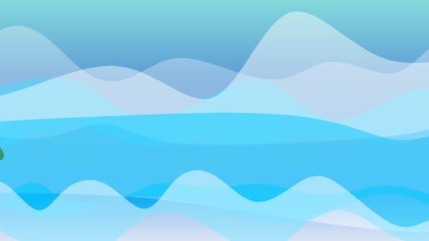 Pesci innamorati che galleggiano luno contro laltro e si baciano. Bacio si trasforma in un cuore colorato. Illustrazione animata del cartone animato.