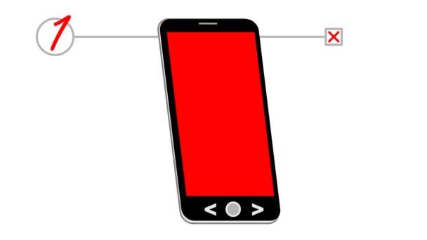 Chytrý telefon, animovaný kreslení s nákupní seznam. Na červené telefonu Zobrazit košík, blikající šipku a koupit to nápis. Animovaná reklama pro online nakupování