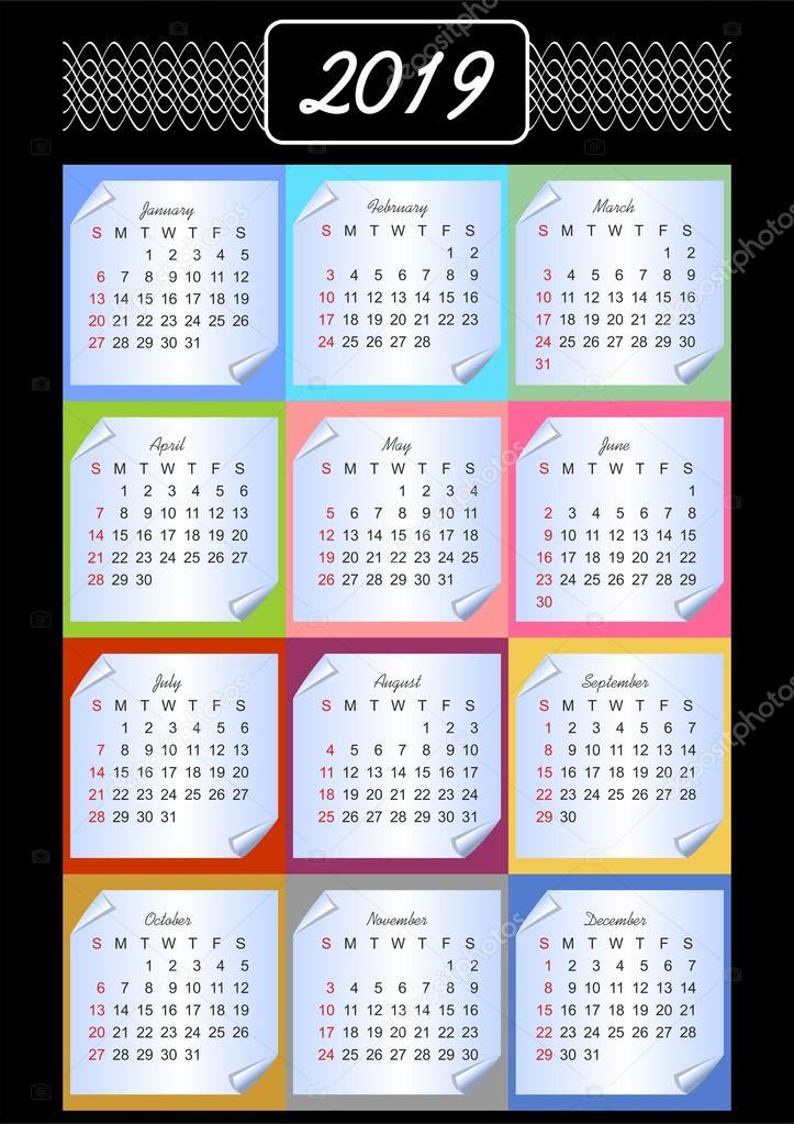 2019 évi naptár hetekkel Naptár 2019, calendarium memóriablokk, tarka háttér, Szüreti  2019 évi naptár hetekkel