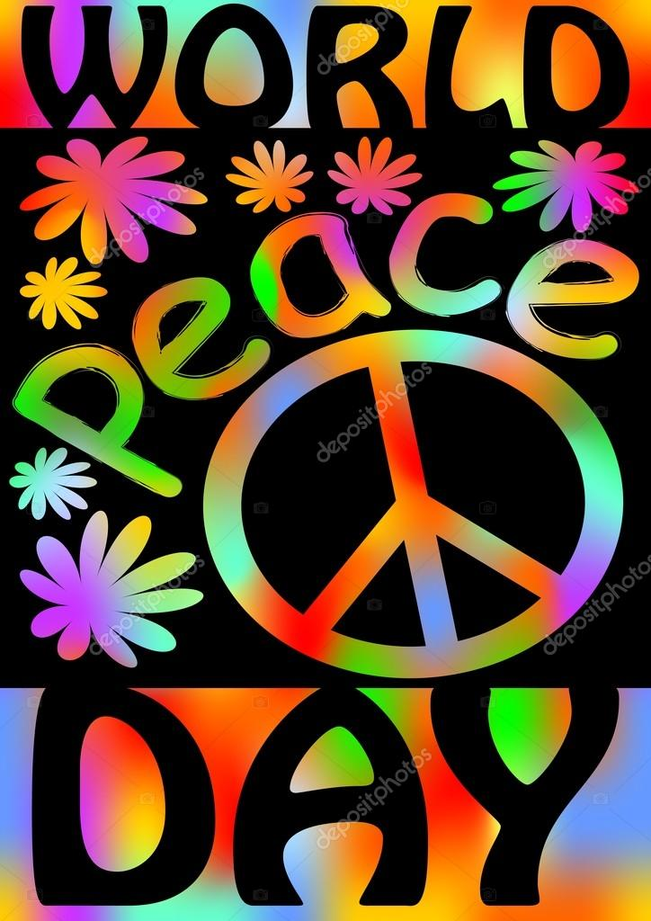 World Peace Day With International Symbol Of Peace Disarmament