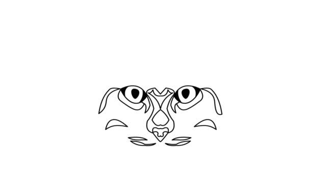 Macska feje animált rajz. Videó a fehér és a fekete szerkezeti kialakítás.