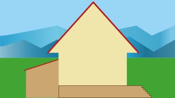Házépítés. Animált hegyek vidéki ház építése. Reklám film, az épület vagy a fejlesztő cég.