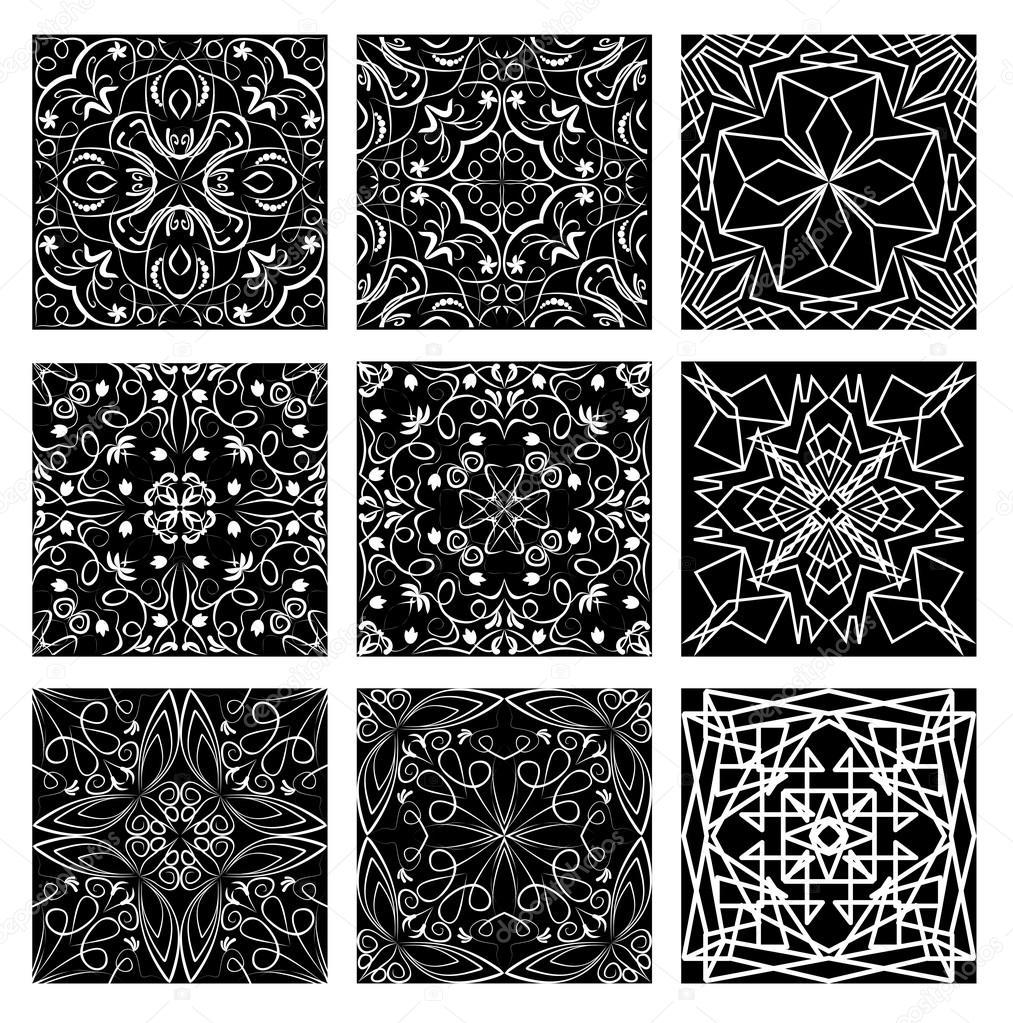 Set of monochromatic vintage filigree lace patterns white line on black background art nouveau
