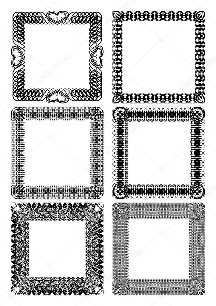 Conjunto de Marcos cuadrados en blanco de encaje en blanco y negro ...