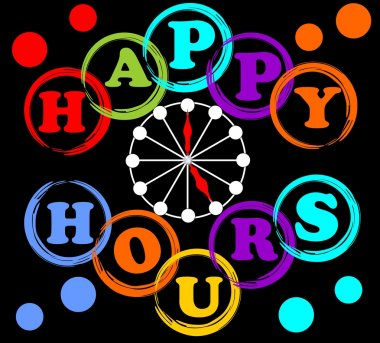 Happy hours billboard in rainbow colors with clock face