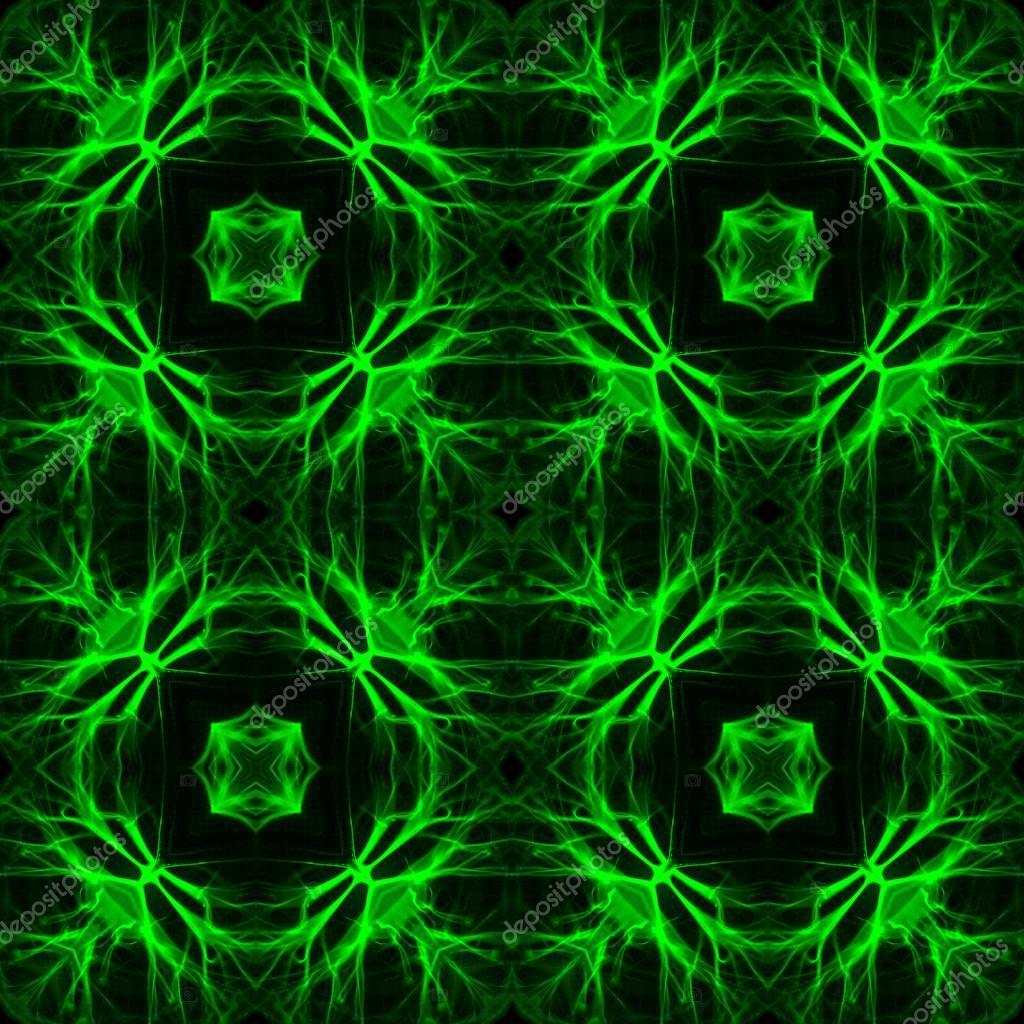 Sfondo Decorativo Nero Piastrella Con Modelli Al Neon Verde Foto