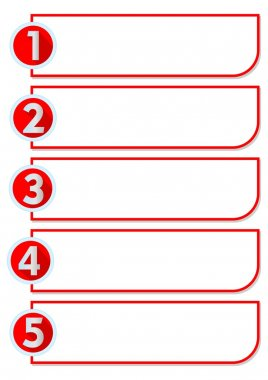 Workflow in five steps with numbers one, two, three, four, five stairs in red circle labels