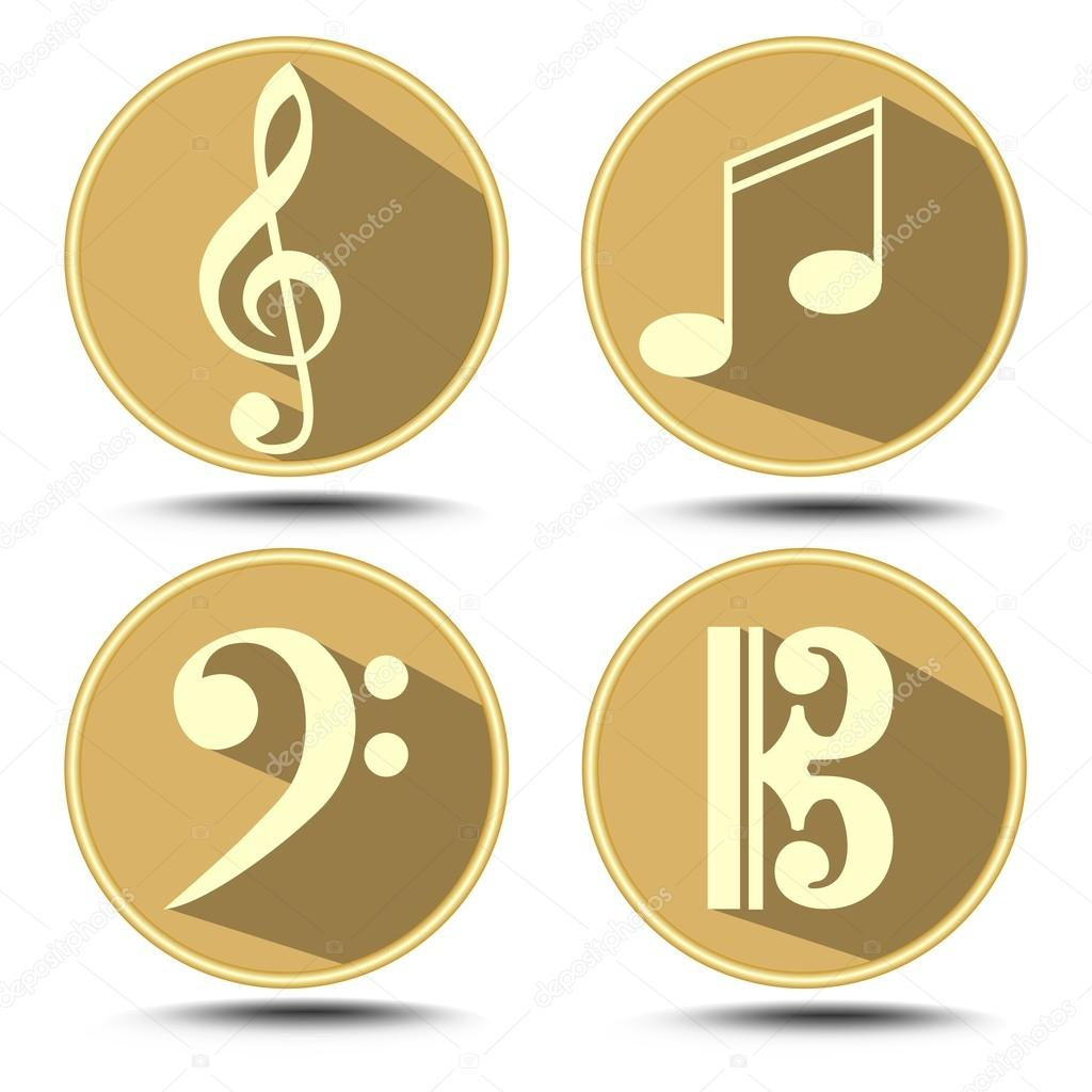 A set of music symbol in circle with long shadow treble clef bass a set of music symbol in circle with long shadow treble clef bass clef music note vector by shalom3 buycottarizona Image collections