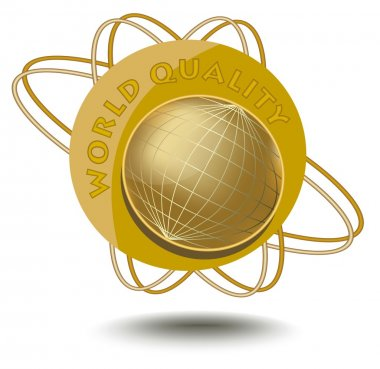 Emblem world quality with globe motif in golden design. An sticker for products of high quality.