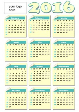 2016 year-round calendar with rolled paper tickets for each month, light yellow and green color, empty place for corporate logo