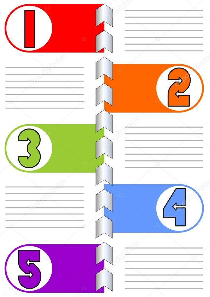 infographic template for presentation of five options or steps with