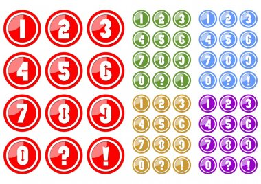 Set of white numbers in circle button includes five color variants, red, green, blue, yellow and purple. Included also button with question mark and exclamation mark.
