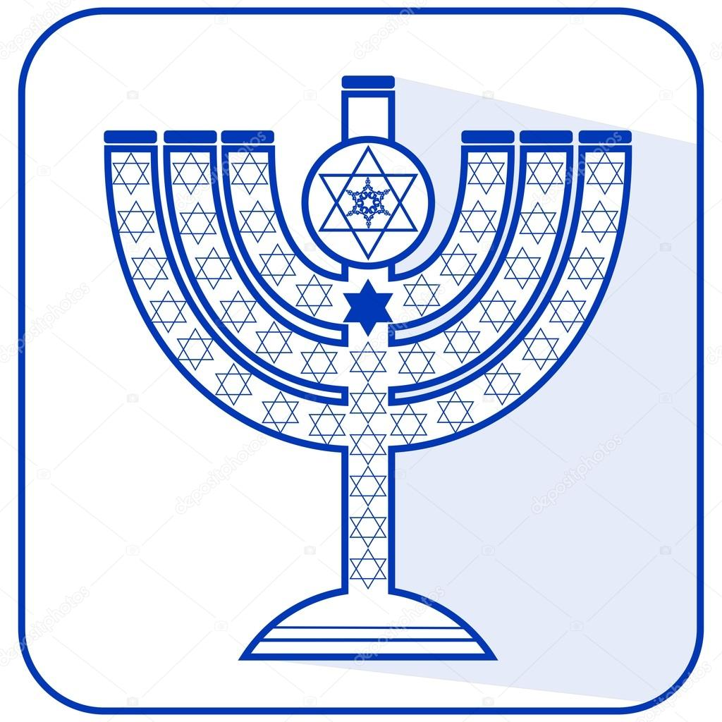Jewish seven-branched candelabrum menorah with the Star of David, flat design vector illustration in israel national colors blue and white with long shadow, EPS 10 vector