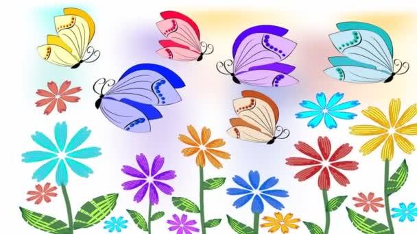 Barevné oživení motýly vznášející se nad kvetoucí louka