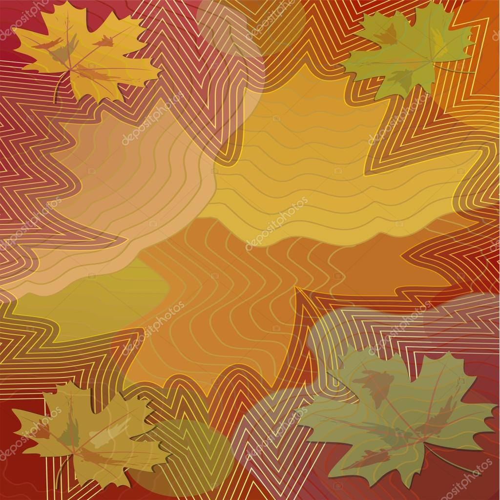 Autumn background with colorful maple leaf within vibrant curves