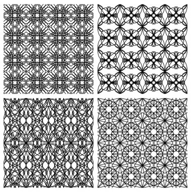 Set of black and white simple geometric monoline patterns in art deco style