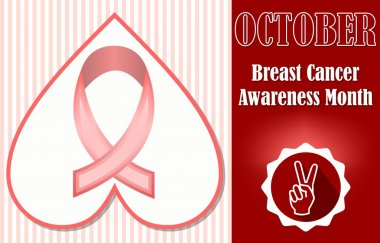 Breast cancer awareness month october. Hopeful leaflet or label template with pink ribbon in heart shape on rosa stripped background. Finger gesture symbol of victory in dark red circle icon.