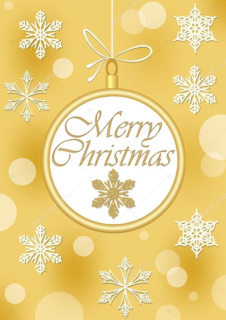 Christmas Leaflet Background.Christmas Leaflet Or Greeting Card Template In Gold Design