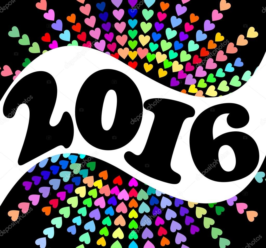 happy new year billboard 2016 with colorful heart shapes eps 10 vector design theme for