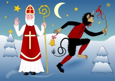 Blessing Saint Nicholas in traditional white clothing with cross, miter, a crosier. Beside him crazy dancing devil with a scourge and bell. The scene in snowy winter evening landscape with moon
