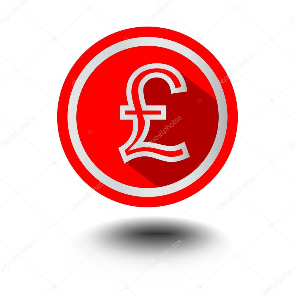 Pound symbol of american currency in red circle shape in modern flat pound symbol of american currency in red circle shape in modern flat design with long shadow buycottarizona Choice Image