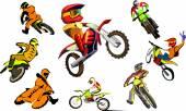 Terénní motocykly vektorové sada