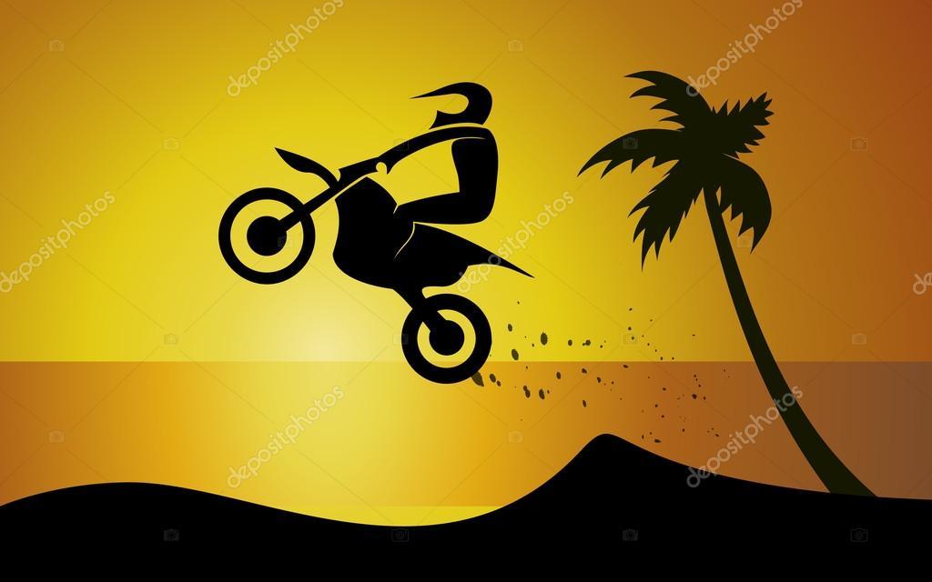 Motorcycle on seaside
