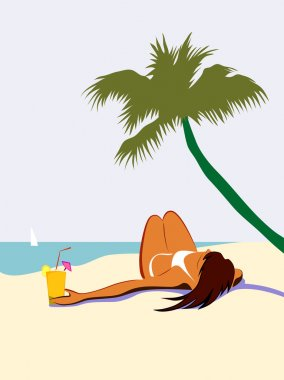 Sunbathing girl under palm tree