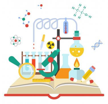 Vector illustration of open book with science elements on white background stock vector