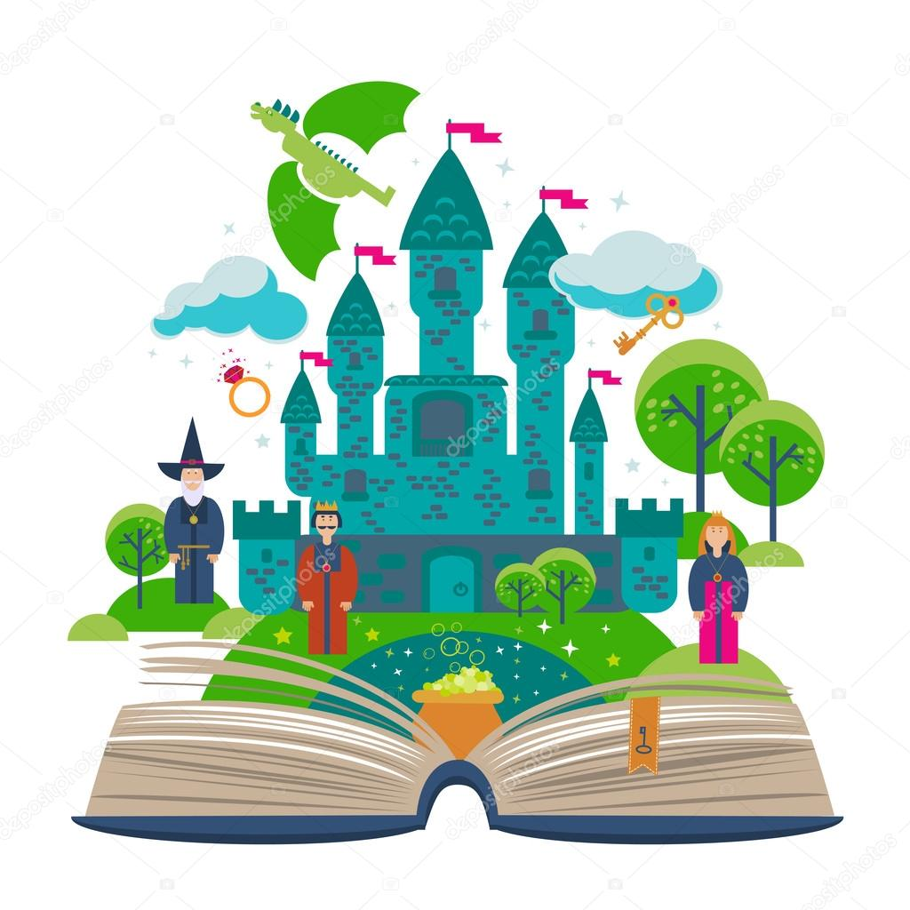 Open book with fairy tale elements